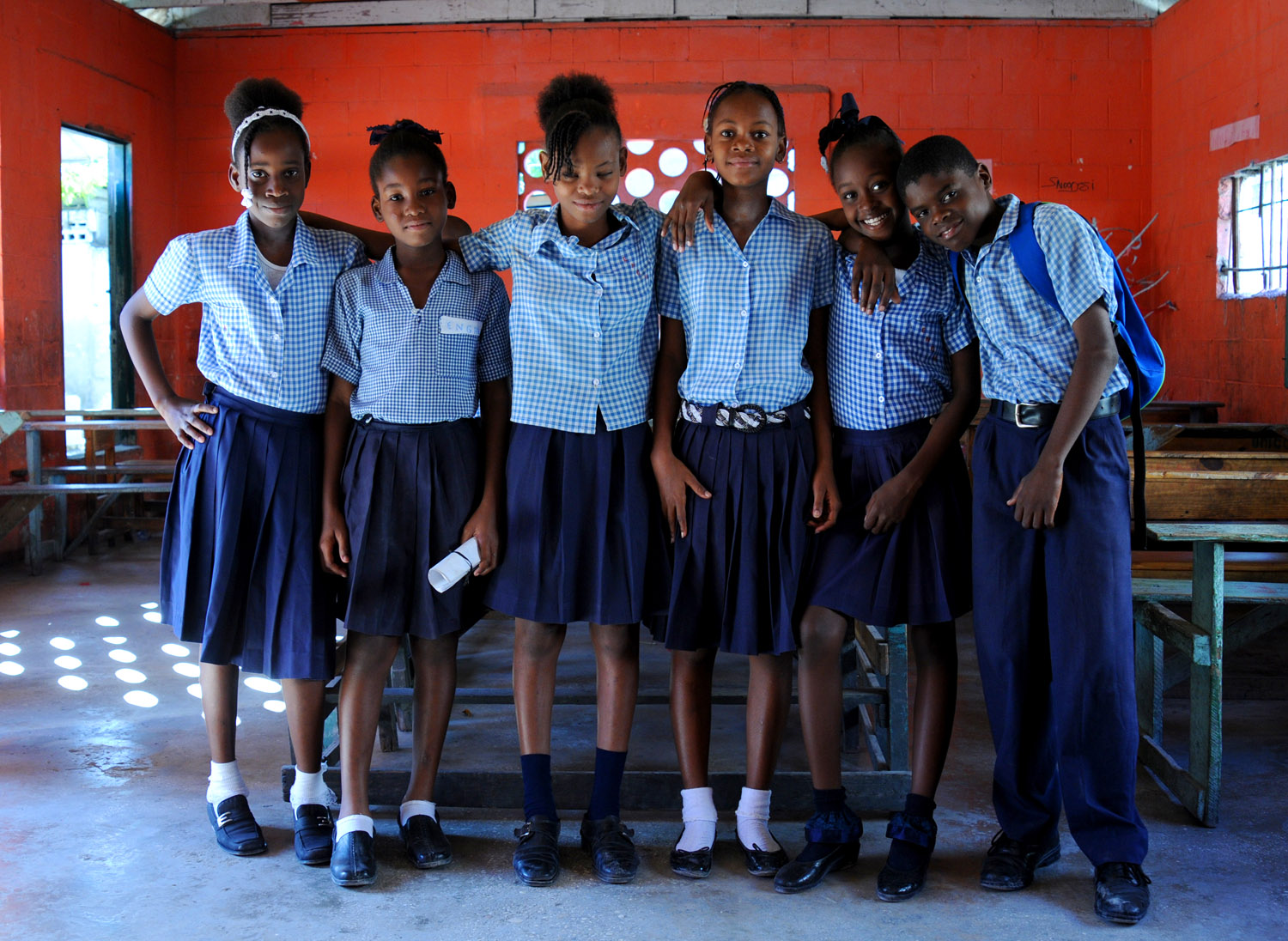 Six of the students at L'Ecole Guillaume Manigat, Port-au-Prince